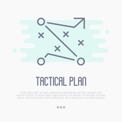 Tactical planning icon for business management. Development of strategy. Thin line vector illustration.