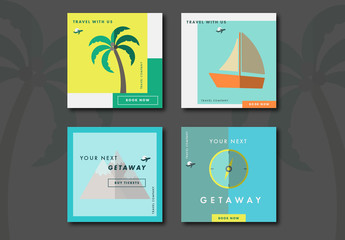 Four Square Travel Social Media Post Layouts