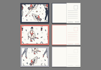 Three Illustrated Ballet Postcard Layouts