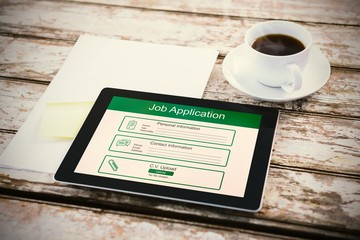Composite image of digitally generated image of job application