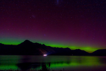 Beautiful Aurora Australis and milky way over Lake Wakatipu, Kinloch, New Zealand South Island
