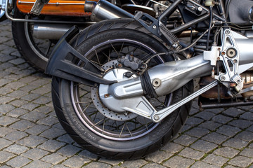 Rear wheel of a motorcycle