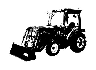 Agricultural tractor illustration art