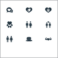 Vector Illustration Set Of Simple Valentine Icons. Elements Communication, Pair, Eco And Other Synonyms Care, Gays And Leaf.