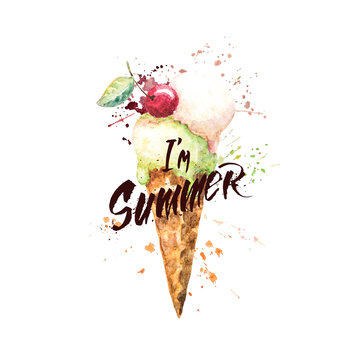 """Watercolor ice cream cone with paint splashes and with hand-written lettering """" I'm summer"""". Bright illustration for greeting cards; poster, t-shirts etc."""