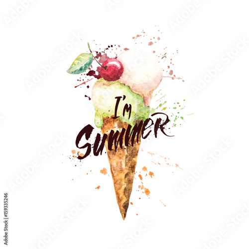 233919f0fba Watercolor ice cream cone with paint splashes and with hand-written  lettering