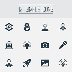 Vector Illustration Set Of Simple Creative Thinking Icons. Elements Cogwheel, Creative, Interview And Other Synonyms Intelligence, Cogwheel And Energy.