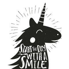 Vector hand drawn typography poster with smiley Unicorn. Start the day with a smile.