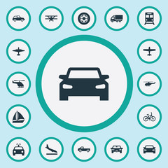 Vector Illustration Set Of Simple Transport Icons. Elements Aero, Plane, Tire And Other Synonyms Boat, Bike And Cop.