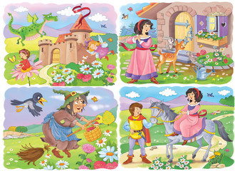 Four cute fairy tale illustrations. Fairy tale. Coloring book. Coloring page. Cute and funny cartoon characters