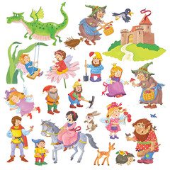 Big collection of fairy tale characters. Fairy tale. Coloring book. Coloring page. Cute and funny cartoon characters