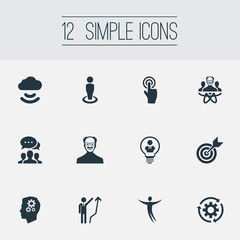 Vector Illustration Set Of Simple Innovation Icons. Elements Click, Connection, Location And Other Synonyms Person, Project And Connection.