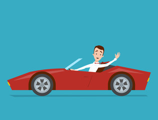 Businessman in a white shirt is driving a red sports car on a blue background