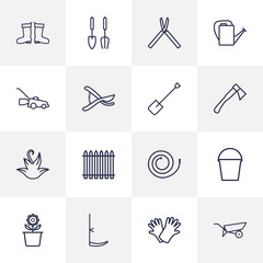 Set Of 16 Household Outline Icons Set.Collection Of Hatchet, Instruments, Palisade And Other Elements.