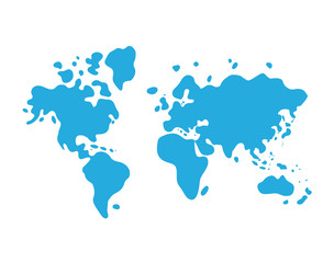 Blue world map cartoon icon.