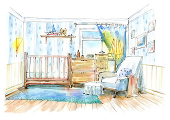 Children's bedroom. Interior of a room newborn boy.Watercolor hand drawn illustration.