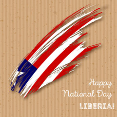 Liberia Independence Day Patriotic Design. Expressive Brush Stroke in National Flag Colors on kraft paper background. Happy Independence Day Liberia Vector Greeting Card.