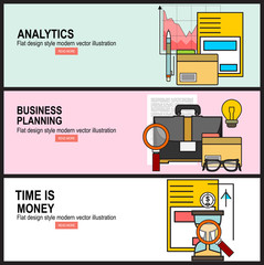Flat design illustration concepts for business analysis, financial report, consulting, team work, project management and development.Time is money concept