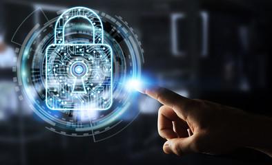 Businessman using digital padlock to secure his datas 3D rendering