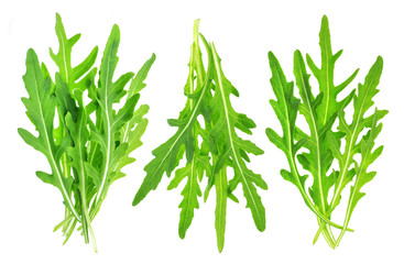 Rucola bunch isolated on white background. Green arugula heap, collection