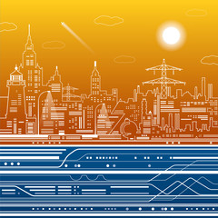 Infrastructure illustration, modern city, airplane fly, train move, urban scene, white lines on blue and orange background, vector design art
