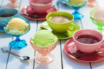 Ice Cream and Sherbet with Coffee and Tea on Picnic Table