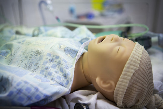 Close-up of mannequin of new born baby