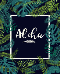 tropical card with palm leaves