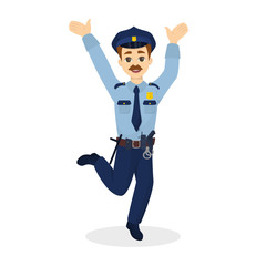 Isolated jumping policeman.
