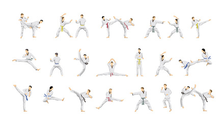 Taekwondo sport set.