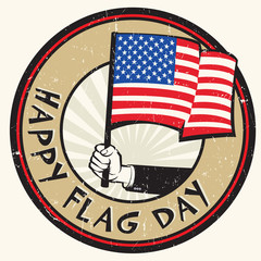 Hand holding American flag. Stamp text Happy Flag Day