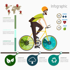 Bicycle chart energy and Green city ecology concept infographic.Hipster lifestyle,Can used for data,diagram and workflow.Vector illustration