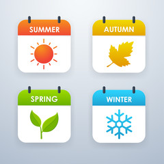 Season icon design Summer, Spring, Autumn, Winter. Vector illustration.