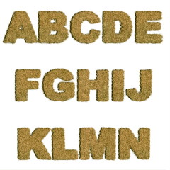 Dried Grass Letters Alphabet A to N