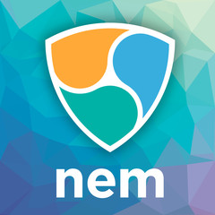 NEM XEM open-source crypto currency coin on blockchain technology. Nem xem vector icon, sign for print and web.