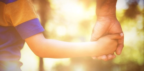 Mid section of boy holding fathers hand