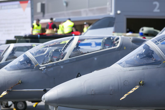 Jet fighters on the ground.