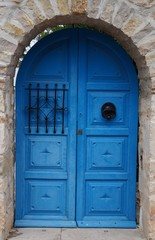Flügeltür blau