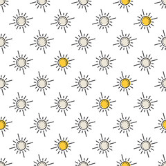 Seamless pattern with yellow sun