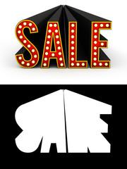 Sale Retro Letters over white background