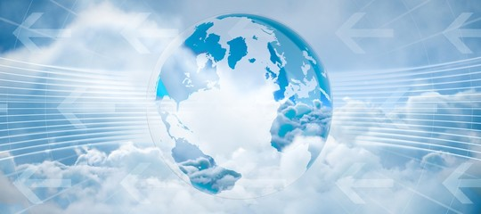Composite image of global business graphic in blue