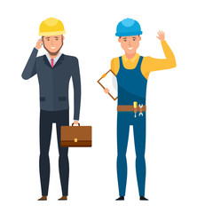 Head chief engineer for construction in branded and working suits.