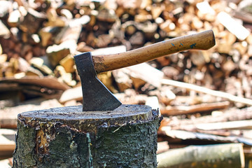 Axe in stump ready for cutting timber