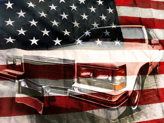 American flag and retro car background