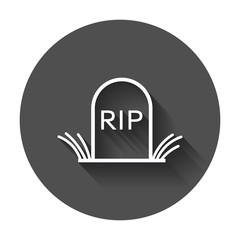Halloween grave icon in line style. Gravestone vector illustration. Rip tombstone flat icon with long shadow.