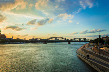 Cologne at sunset on a day in summer