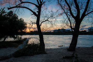 Rhine River in Cologne at sunset on a day in summer