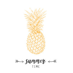 Pineapple yellow  skech. Letitering summer