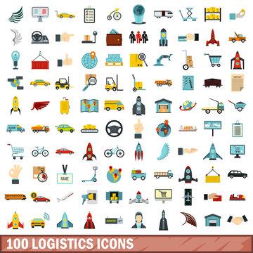 100 logistics icons set, flat style