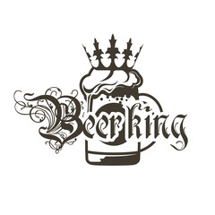 Logo beer mugs with crown and inscription Beerking.